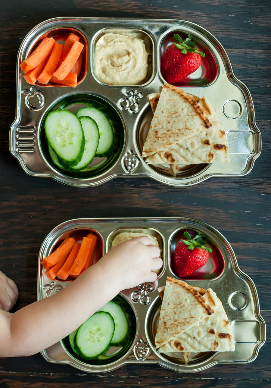 Deconstructed Toddler Snack Plate with Hummus + Veggies