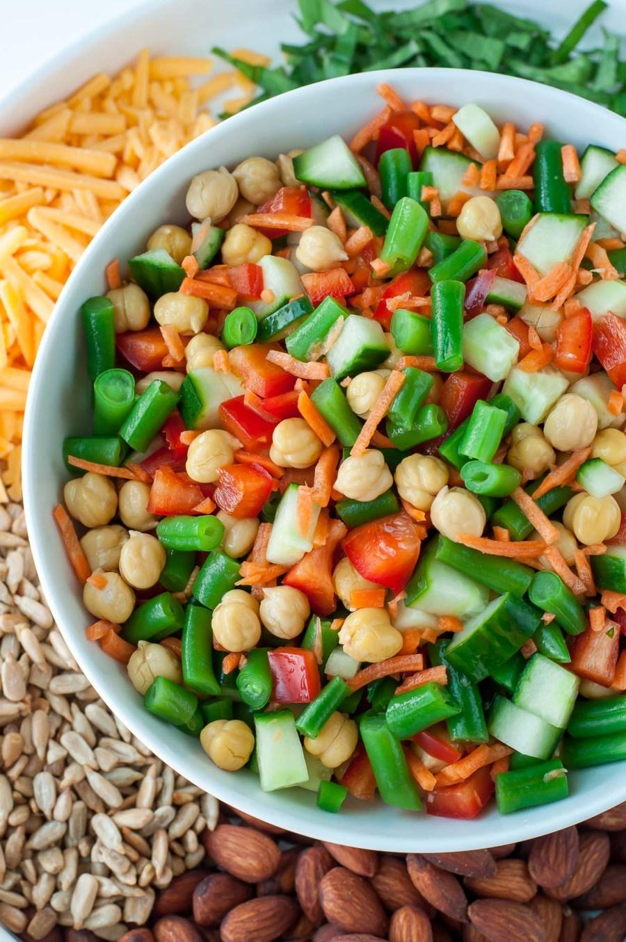 Healthy Chickpea Salad with Basil Vinaigrette Dressing