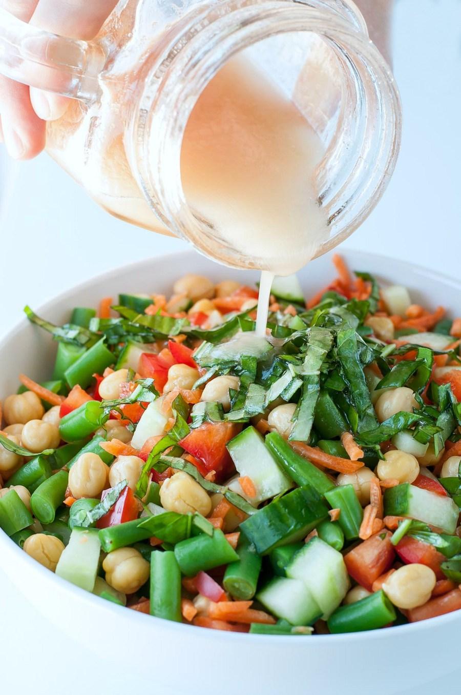 Chickpea Salad with Basil Vinaigrette Dressing