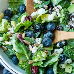 Blueberry Broccoli Spinach Salad with Poppyseed Ranch