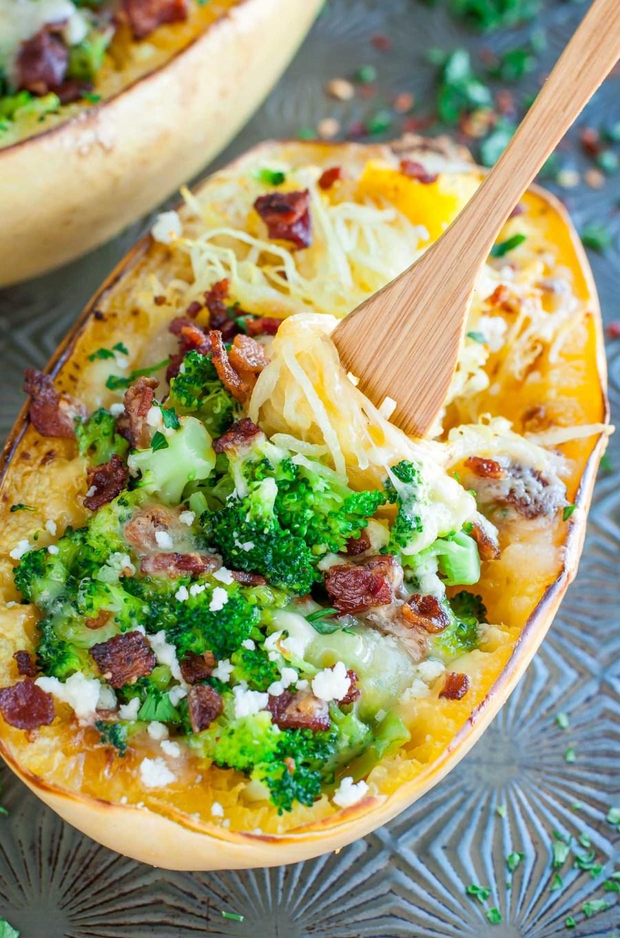 Cheesy Bacon Broccoli Spaghetti Squash