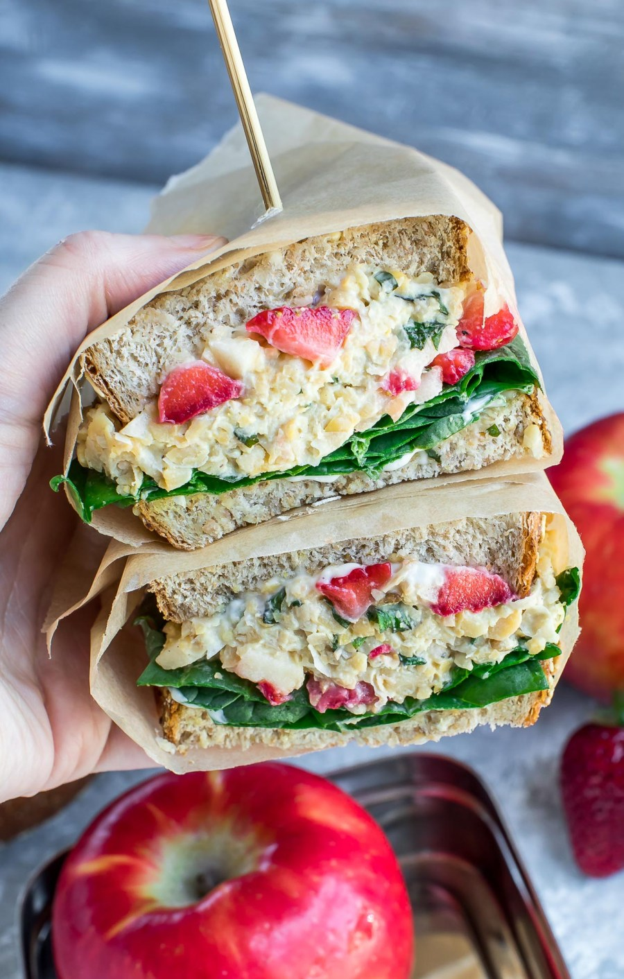 This Strawberry Basil Chickpea Salad Sandwich makes a tasty (and portable!) lunch for work, school, or home. Even better? It's quick, easy, and healthy too!