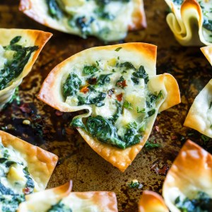 Baked Spinach Artichoke Won-ton Cups