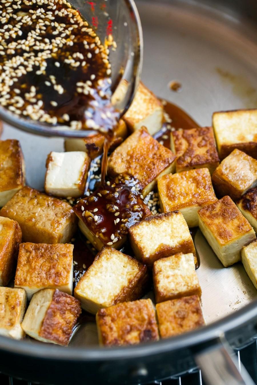 pan fried tofu with honey garlic sauce