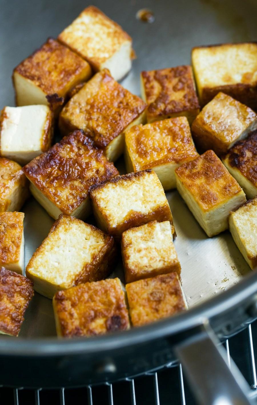 pan fried tofu process shot