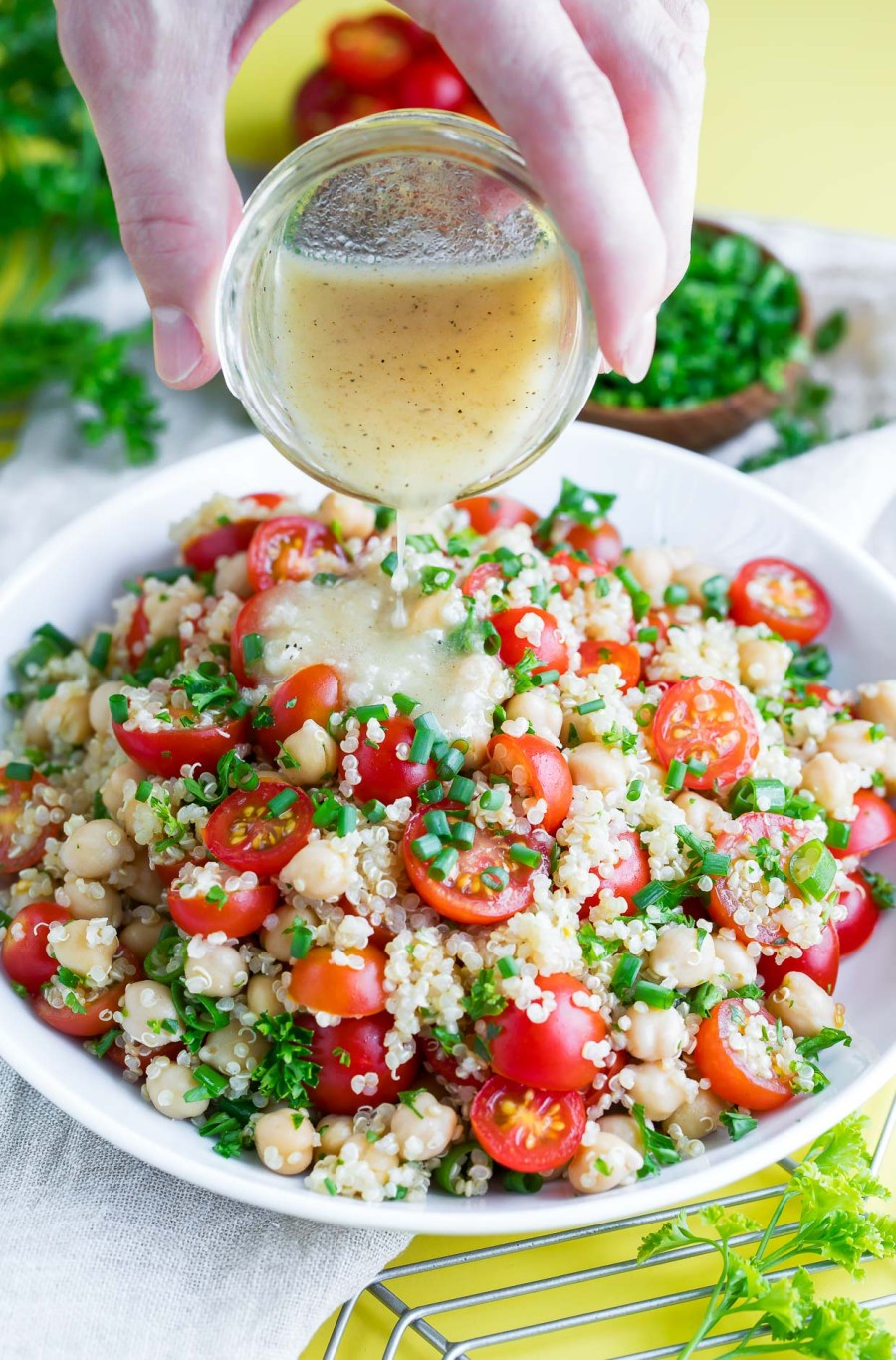 Healthy Tomato Quinoa Salad with Garlic Lime Dressing