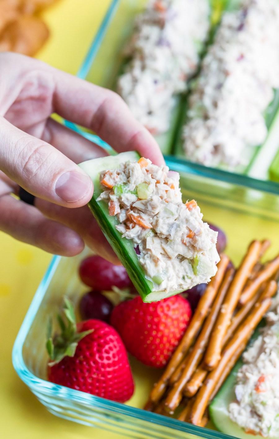 Tuna Salad Cucumber Boats Lunch Box