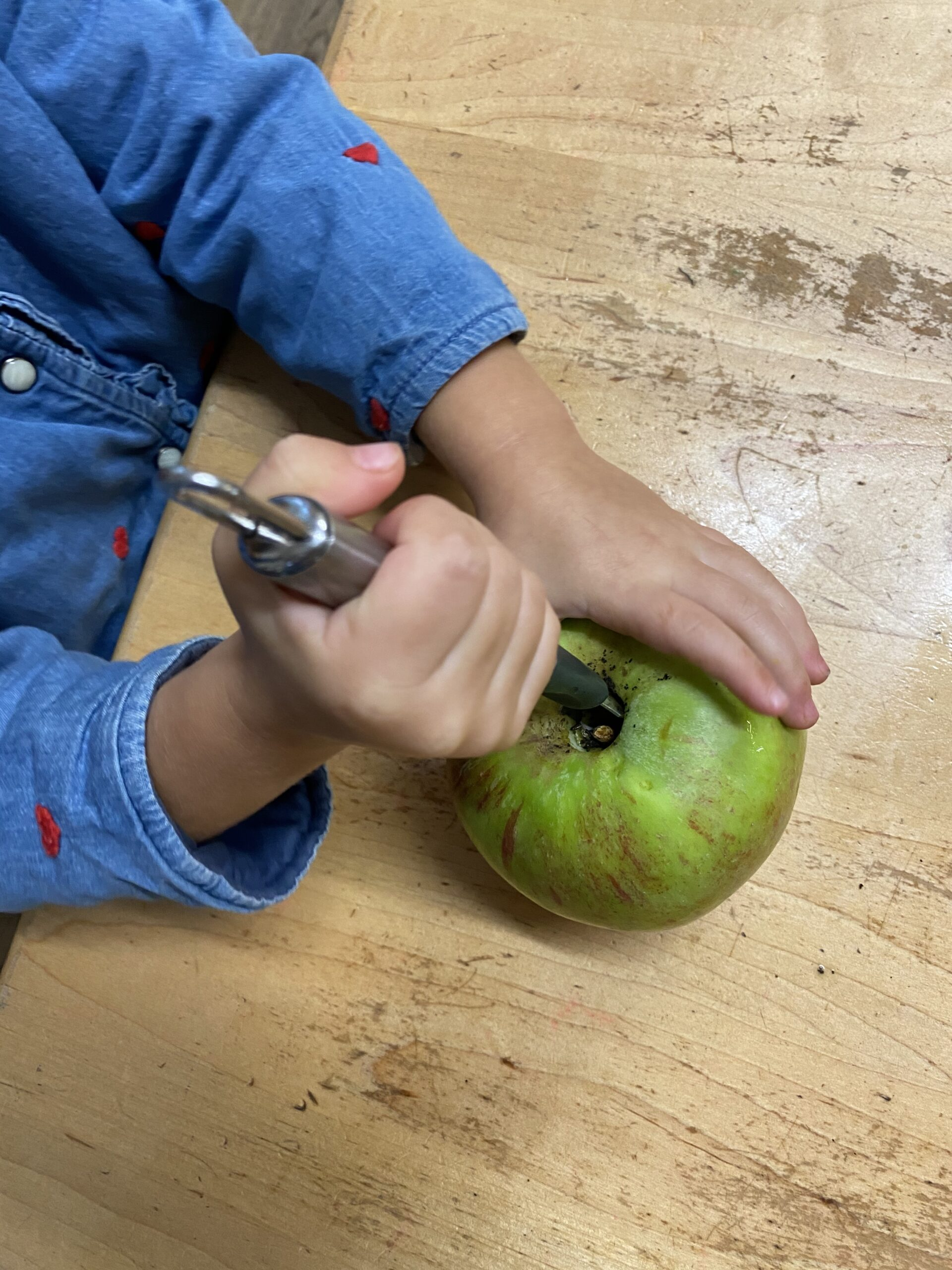 using apple corer to core apple