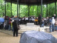 An orchestra tuning up at Jardin du Luxembourg
