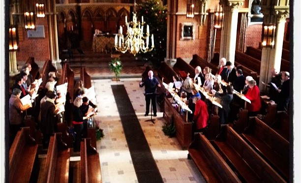 The choirs of Finchampstead and California rehearse for the Carol Service
