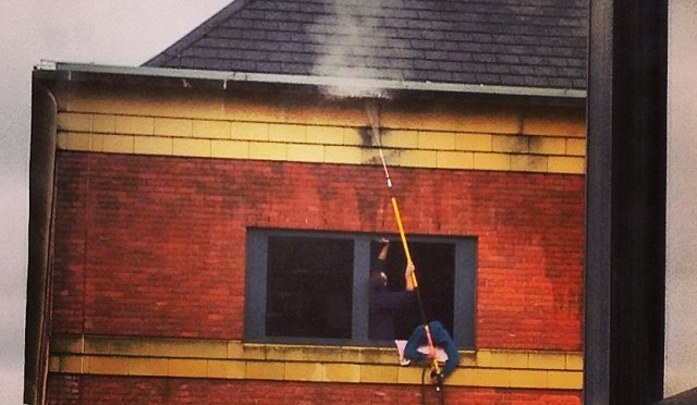 Jet washing a Building