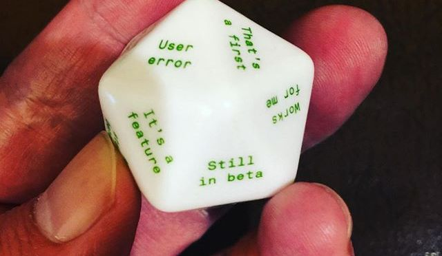 Have you ever thought developers are just rolling dice to come up with a random explanation? @pretendstore can provide you with a developer die too…
