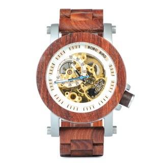 Ceas din lemn Bobo Bird mecanic, curea din lemn