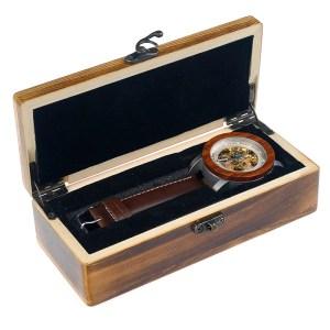 Ceas din lemn Bobo Bird mecanic, maro cu cutie