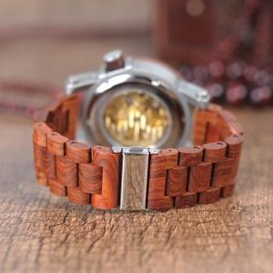 Ceas din lemn Bobo Bird mecanic si transparent, curea din lemn
