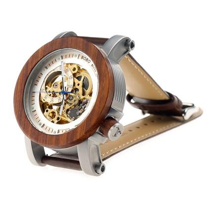 Ceas din lemn mecanic, maro