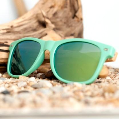 Ochelari de soare din lemn Bobo Bird cu lentila verde