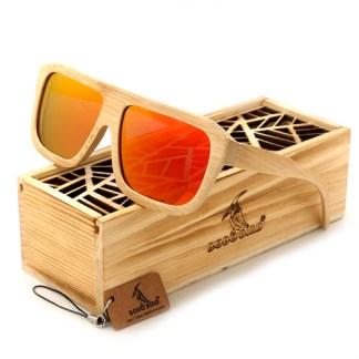 Ochelari de soare din lemn Bobo Bird, lentila portocalie
