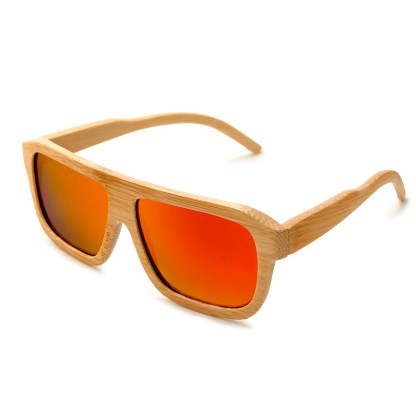 Ochelari de soare din lemn cu lentila portocalie