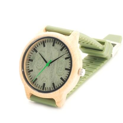 Ceas din bambus Bobo Bird cu curea silicon verde