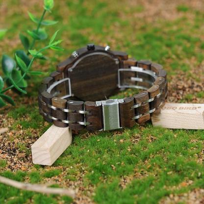 Ceas din lemn Bobo Bird crono cu curea din lemn si accente verzi