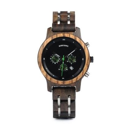 Ceas din lemn Bobo Bird crono cu curea din lemn, verde