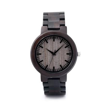 Ceas din lemn Bobo Bird cu curea din lemn negru