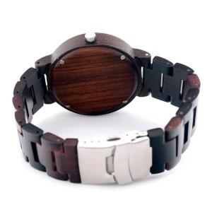 Ceas din lemn Bobo Bird cu curea din lemn negru spate