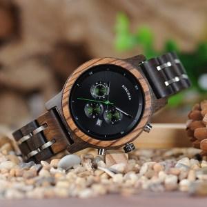 Ceas din lemn Bobo Bird curea din lemn, verde