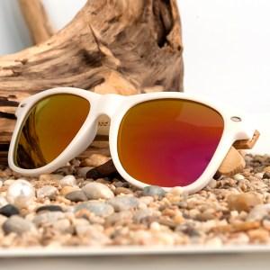Ochelari de soare Bobo Bird alb cu lentila portocaliu