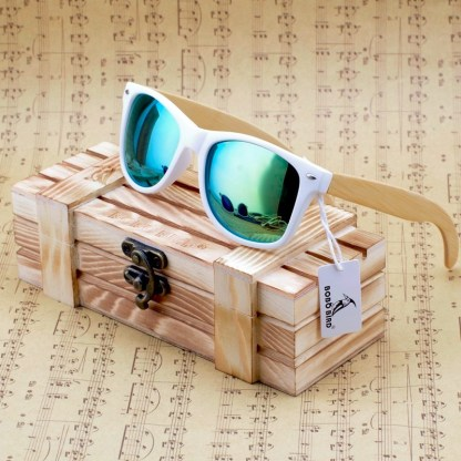 Ochelari de soare Bobo Bird alb cu lentila verde