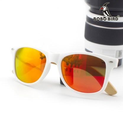 Ochelari de soare Bobo Bird alb lentila portocaliu