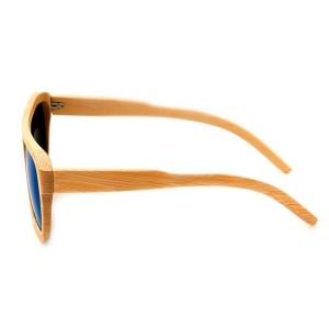 Ochelari de soare din lemn Bobo Bird cu lentila albastra