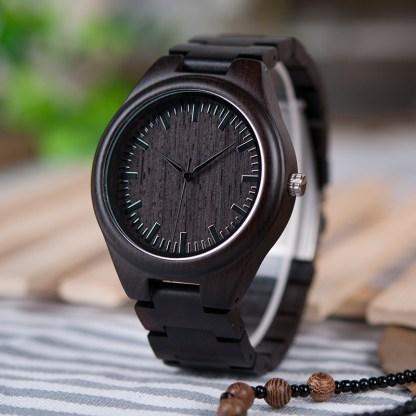 Ceas din abanos Bobo Bird cu curea din lemn de abanos