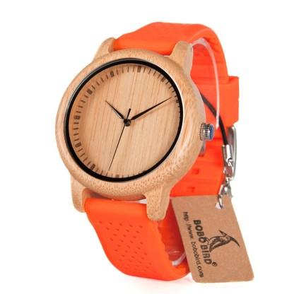 Ceas din bambus Bobo Bird cu curea din silicon portocaliu