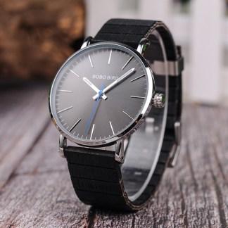 Ceas din inox Bobo Bird cu curea din lemn