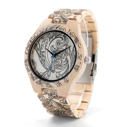 Ceas din lemn Bobo Bird cu curea din lemn tatoo