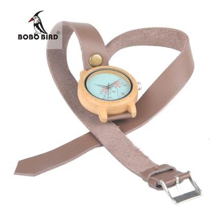Ceas din lemn dama cu curea lunga