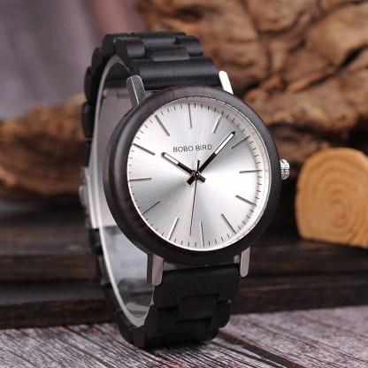Ceas din lemn si inox cu curea din lemn