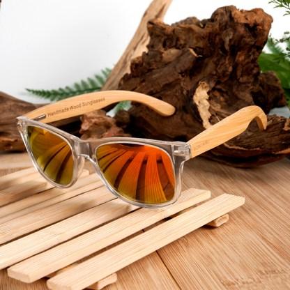 Ochelari de soare Bobo Bird din lemn de bambus transparent, lentila portocalie