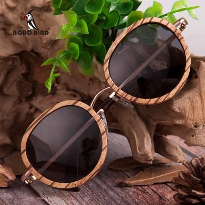 Ochelari de soare din bambus Bobo Bird, lentila rotunda