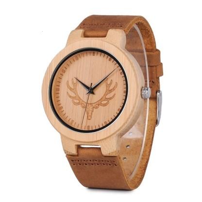 Ceas din lemn Bobo Bird cu curea din piele, D19