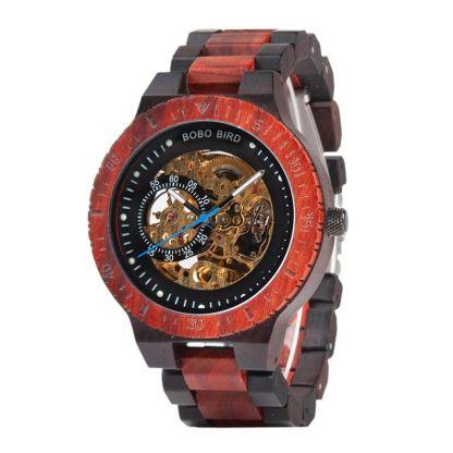 Ceas din lemn Bobo Bird mecanic, curea din lemn R05 rosu