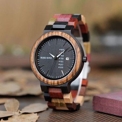Ceas din lemn Bobo Bird cu curea din lemn, P14-1
