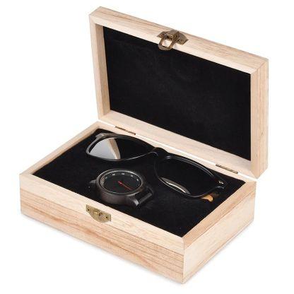 ceas din lemn Bobo Bird P10 si ochelari de soare din lemn