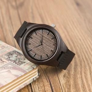 Ceas din lemn Bobo Bird cu curea din piele, F08