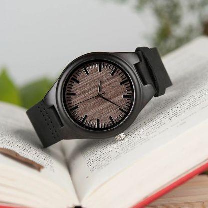 Ceas din lemn Bobo Bird cu curea din piele F08