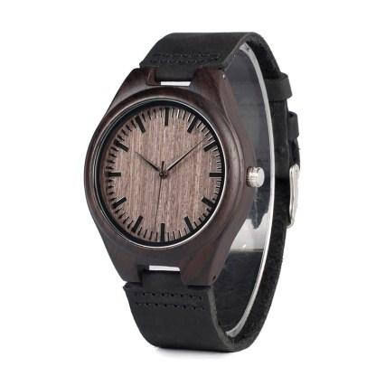 Ceas din lemn Bobo Bird negru cu curea din piele, F08