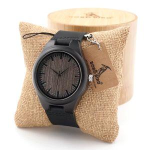 Ceas din lemn Bobo Bird negru cu curea din piele F08