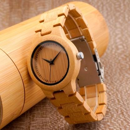 Ceas din bambus Bobo Bird cu curea din bambusL28